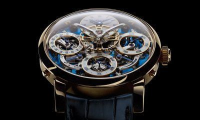 MB&F LM Perpetual limited edition 18k yellow gold face close up