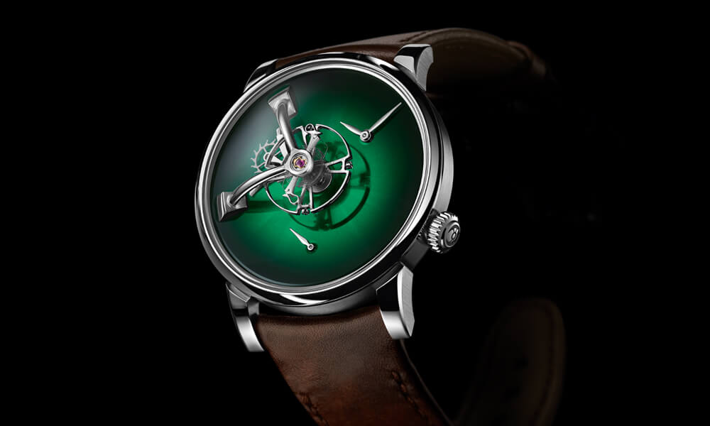 The LM101 MB&F x H.Moser & Cie with Cosmic Green fumé dial.