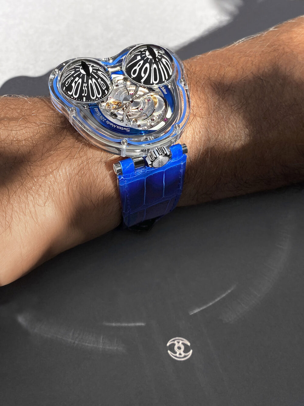 MB&F Frog X 10th Anniversary Blue Lifestyle