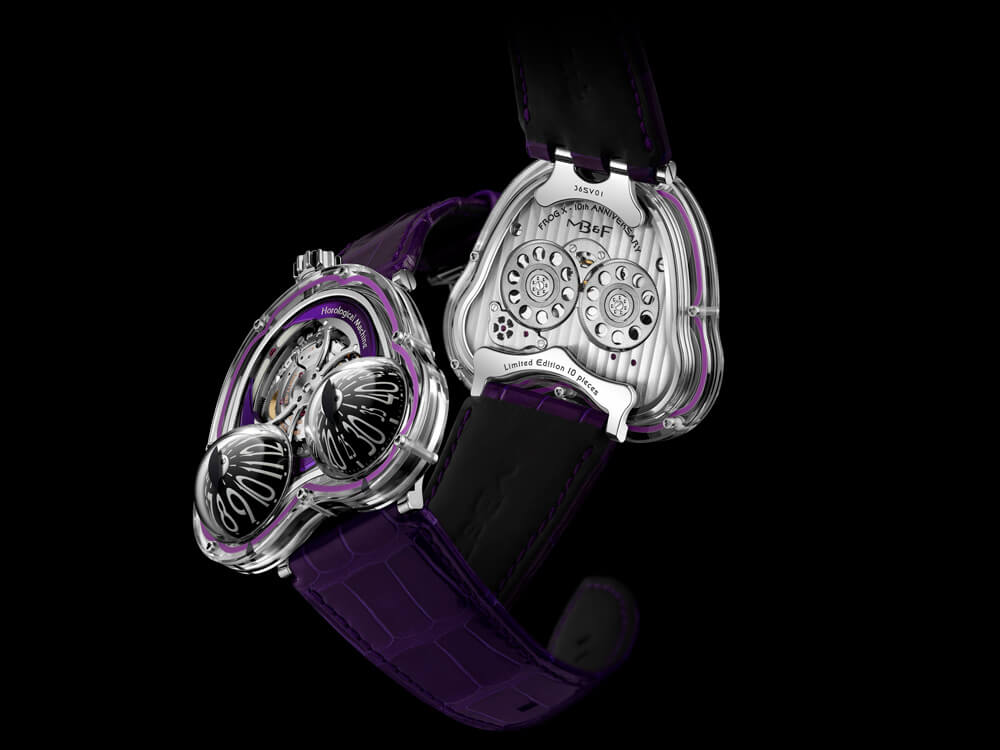 MB&F Frog X Purple 10th Anniversary Front Back
