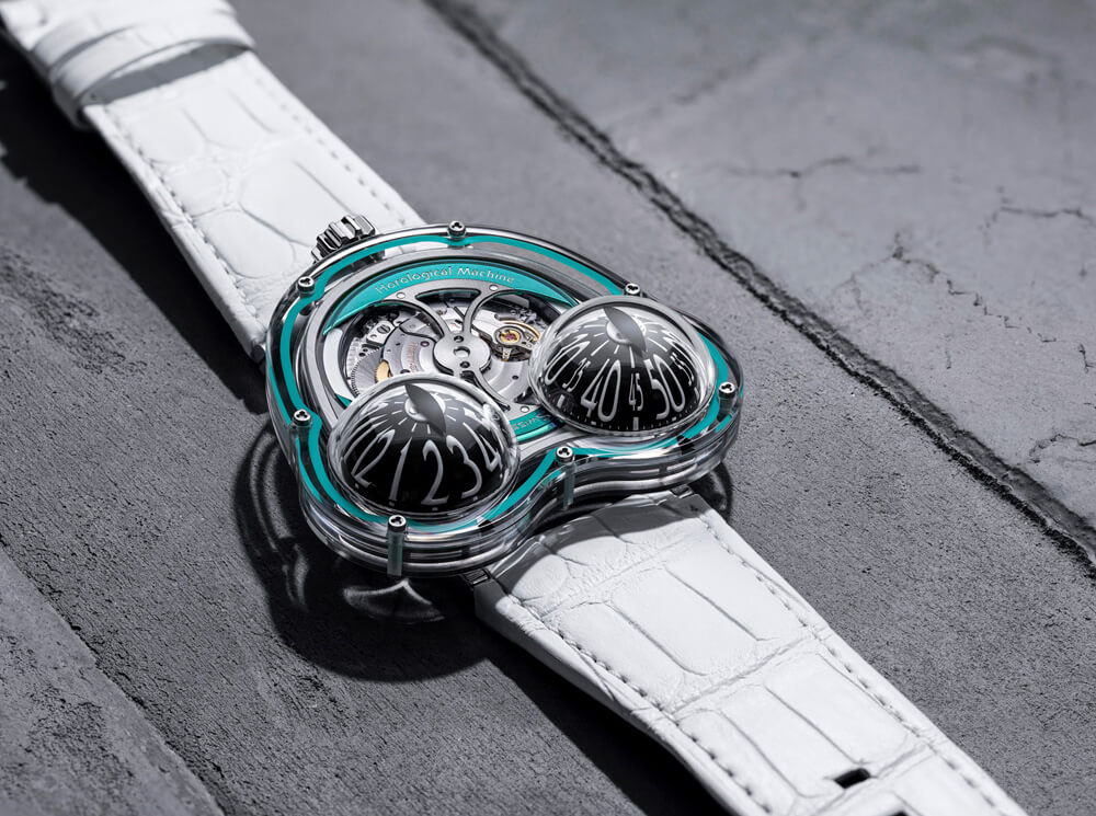 The turquoise edition with white alligator strap. Credit: MB&F