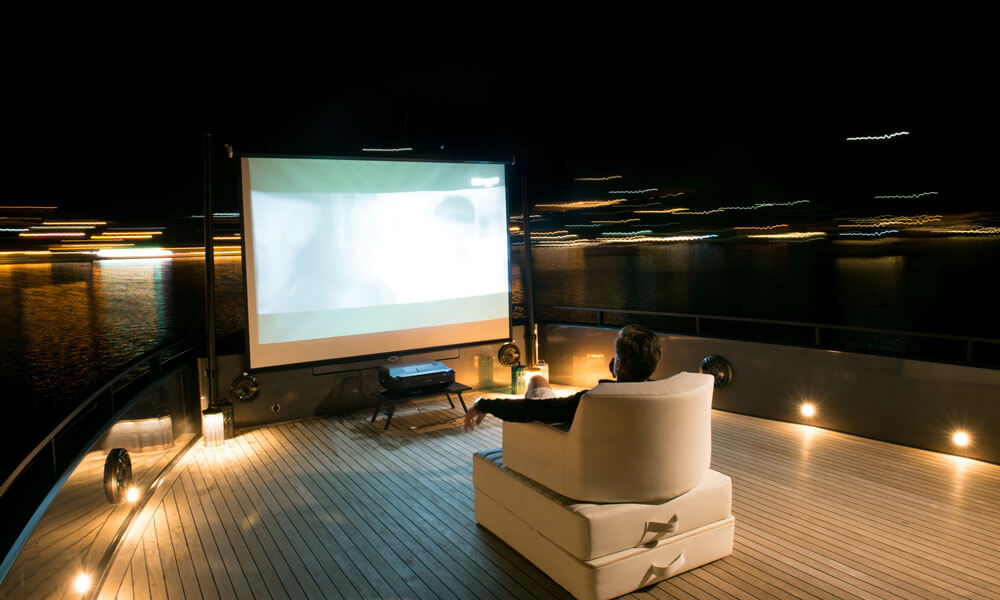 Mazu Yachts Mazu 82 fore deck open air cinema