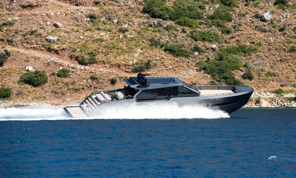 Mazu Yachts Mazu 82 under power side view