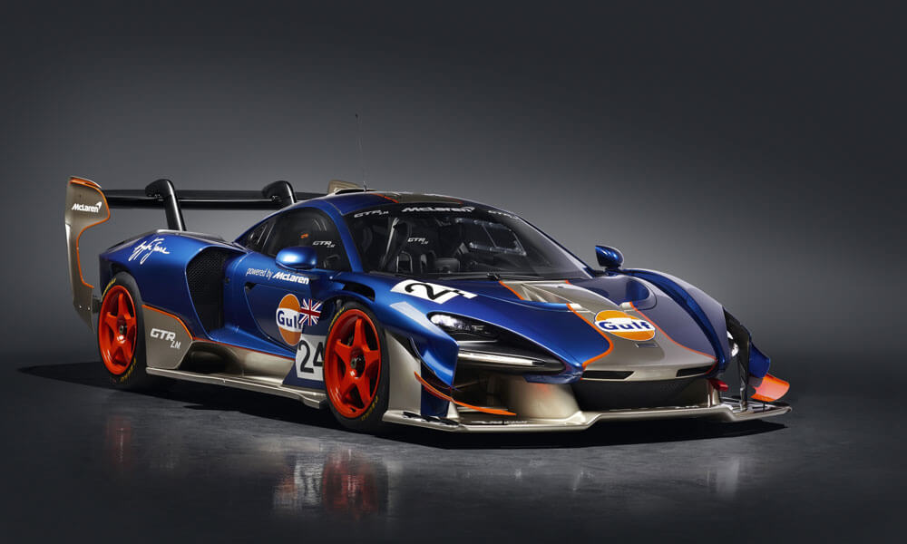 Mclaren Senna GTR LM 825 Gulf Car Front Side View