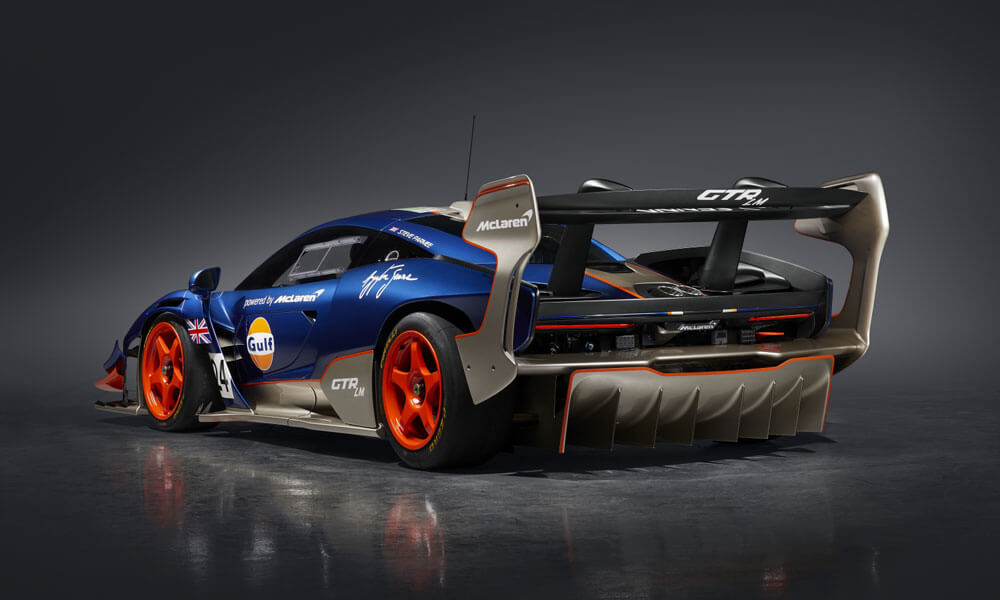 Gulf Racing livery with Gulf 95 Blue and Gulf 95 Orange. Credit: McLaren Automotive
