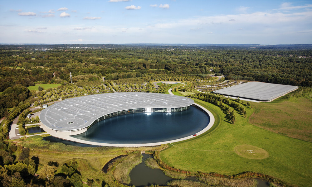 The McLaren Technology Center designed by Foster + Partners.