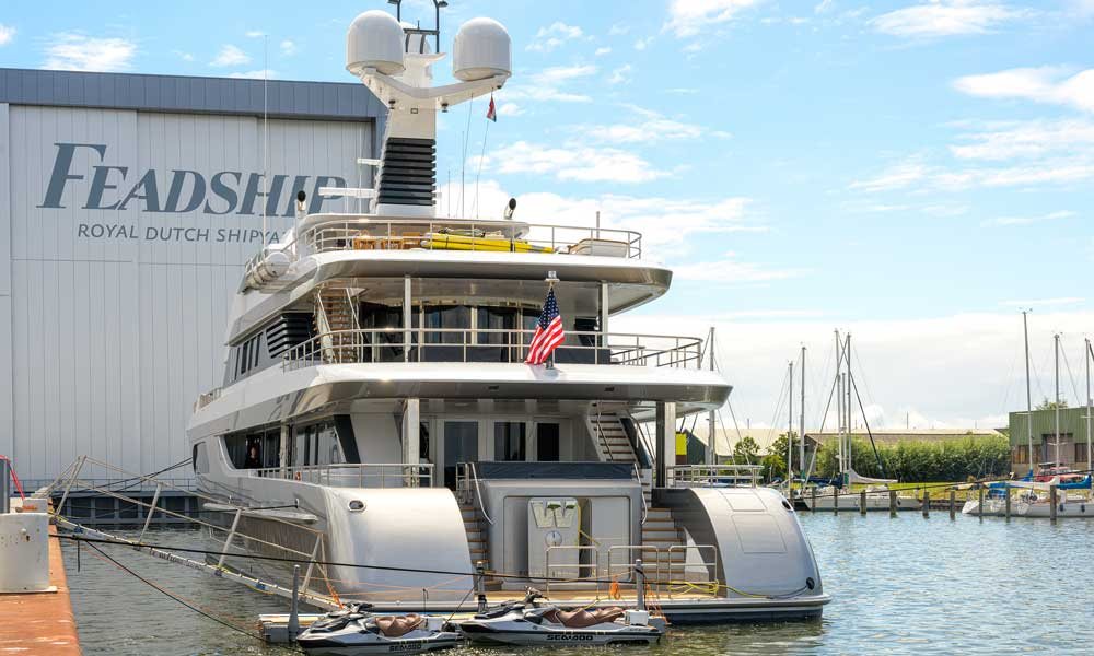 Aft view of Motor Yacht W built by Feadship