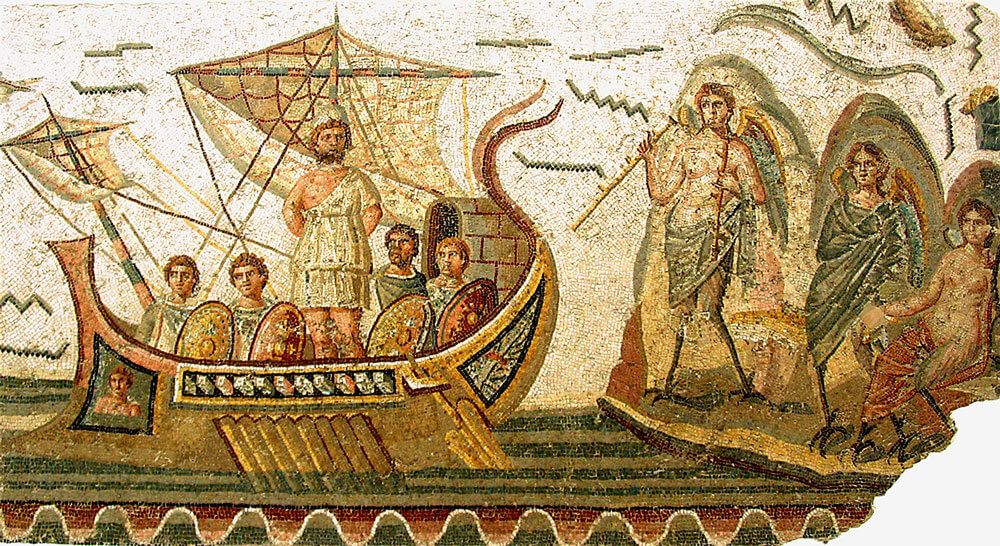 Odysseus and the sirens mosaic
