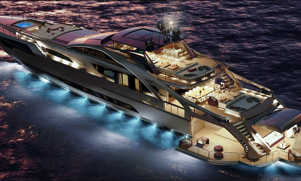 Concept of Pershing 140 at night