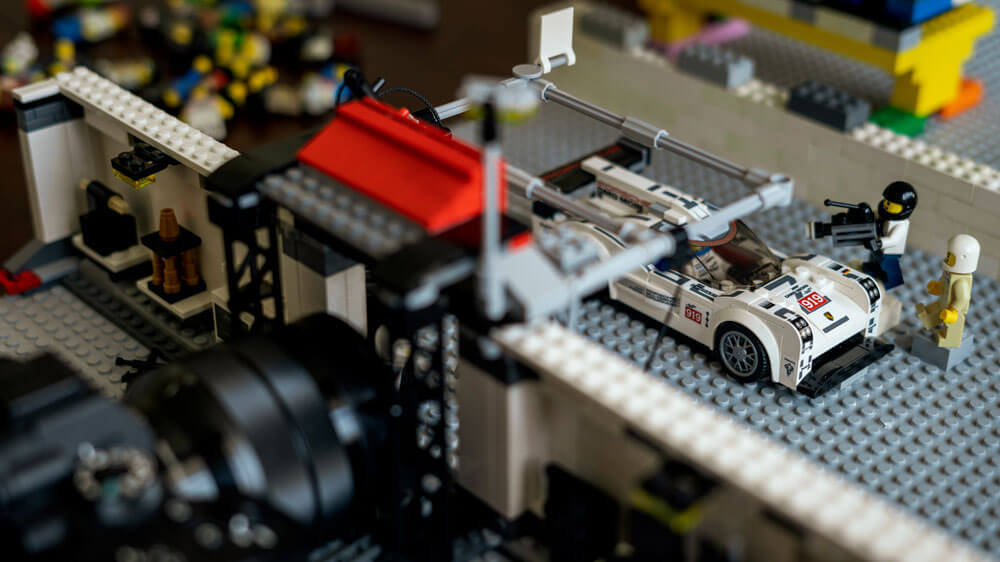 Porsche 919 pit lane Lego recreation by automotive photographer Dominic Fraser