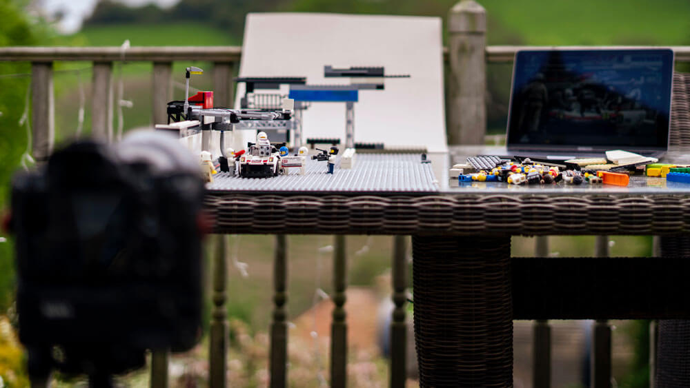 Setting up for the Porsche 919 pit stop shot.