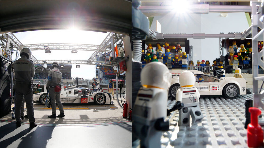 Recreation of the Porsche 919 pulling into pit lane