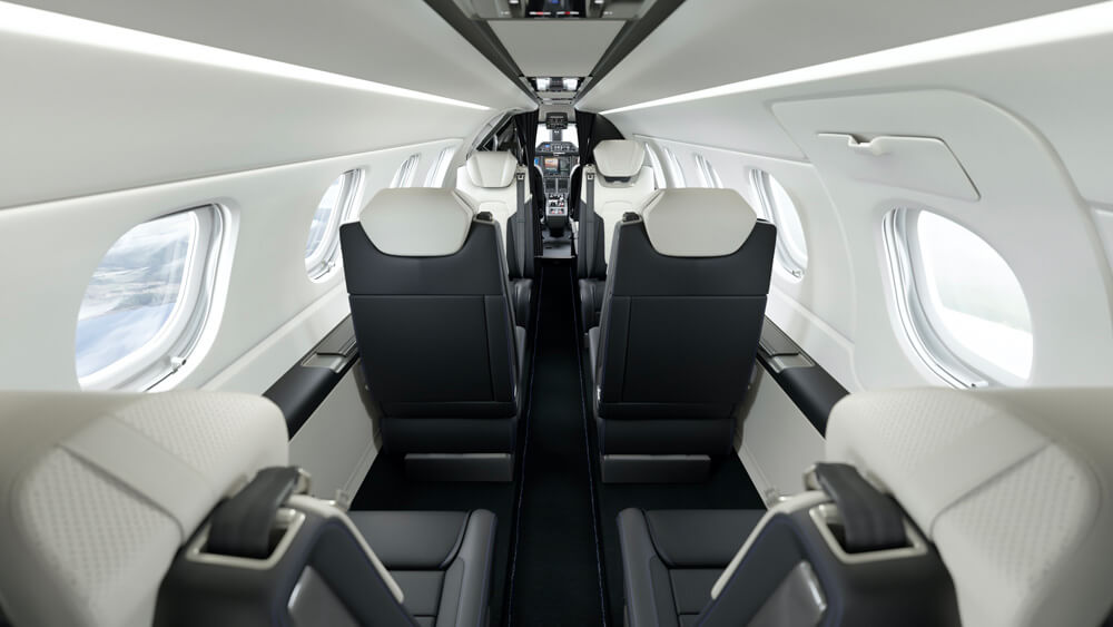 Interior cabin of the Embraer Phenom 300E business jet. Credit: Porsche and Embraer