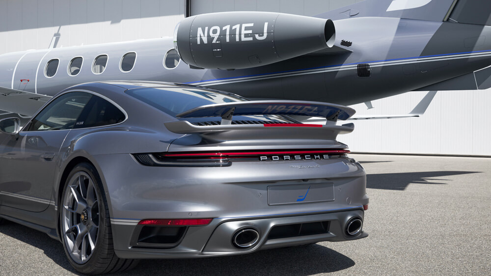 Porsche 911 Turbo S Limited Edition Duet Embraer Phenom 300E Rear Wing