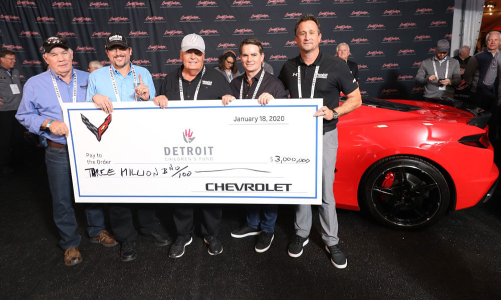 Rick Hendrick with the $3 Million cheque  for the Detroit Children's fund