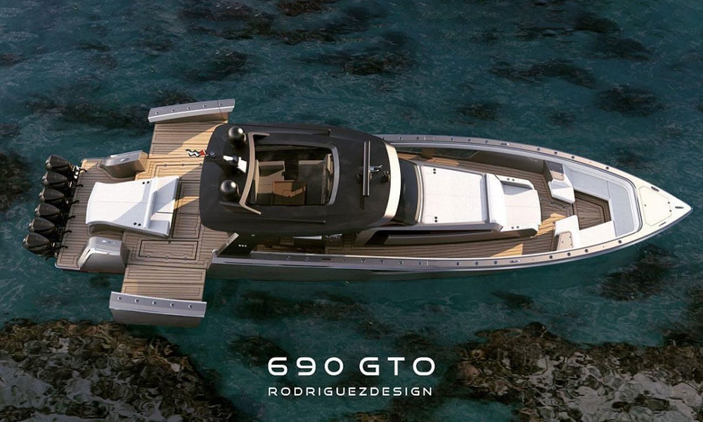 Rodriguezdesign 690 GTO centre console boat with push out balconies as standard