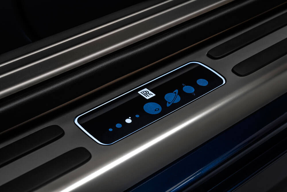 Rolls-Royce Wraith Inspired By Earth door sills with planetary details. Credit: Rolls-Royce Motor Cars