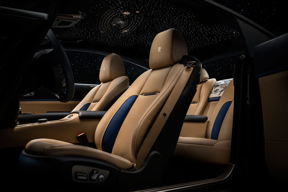 Bespoke Starlight Headliner with the solar system embroidery. Credit: Rolls-Royce Motor Cars