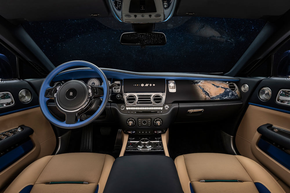 An Earth inspired interior with elements of sand, rivers and nature. Credit: Rolls-Royce Motor Cars