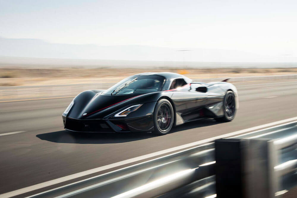 SSC Tuatara Fastest Hypercar Record Attempt Driving Front Side