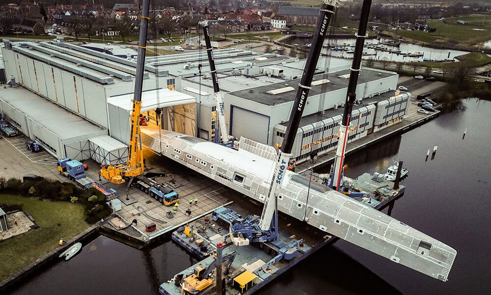 Sea Eagle II hull rotated at the Royal Huisman shipyard in Vollenhove