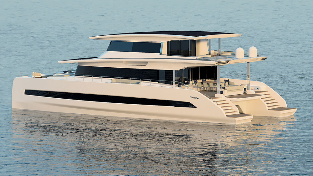"Silent 80 Tri-Deck Catamaran with ""closed top"" option. Credit: Silent Yachts"