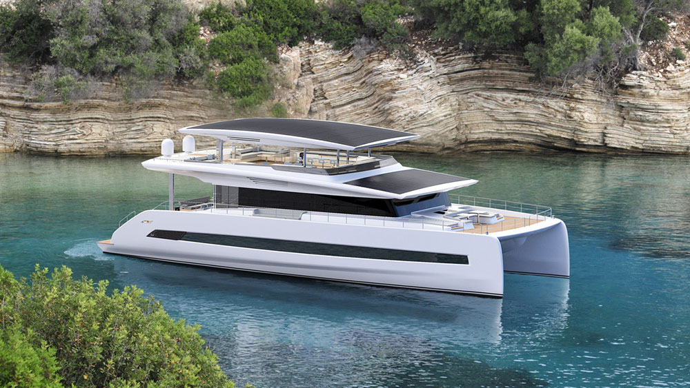 "SILENT 80 Tri-Deck Catamaran with ""open top"" option. Credit: Silent Yachts"