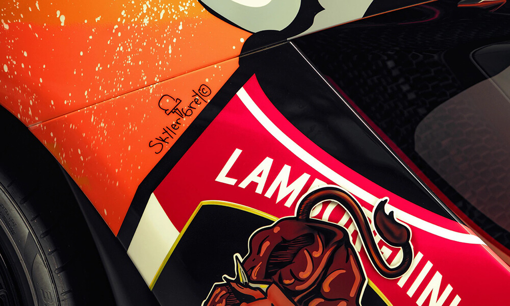Street Art Lamborghini Aventador S by Skyler Grey detail