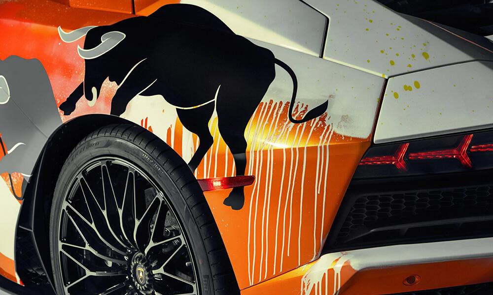 Street Art Lamborghini Aventador S by Skyler Grey detail 2
