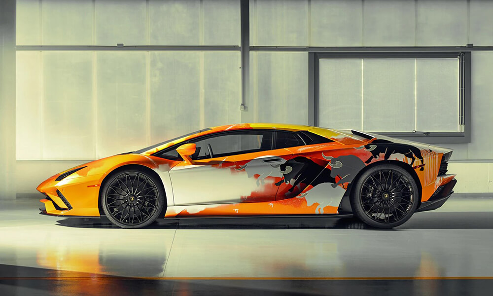 Street Art Lamborghini Aventador S by Skyler Grey left side