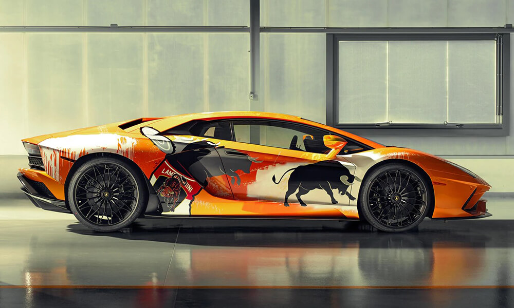 Street Art Lamborghini Aventador S by Skyler Grey right side