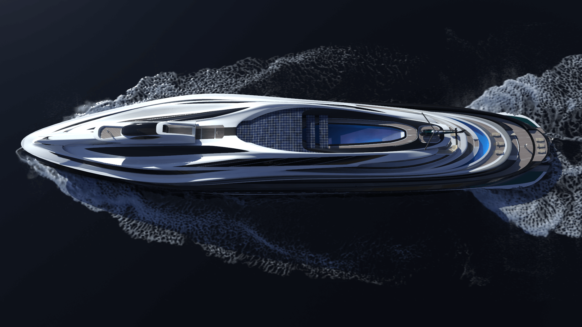 Superyacht Concept Avanguardia The Swan by Lazzarini Studio Design Aerial View