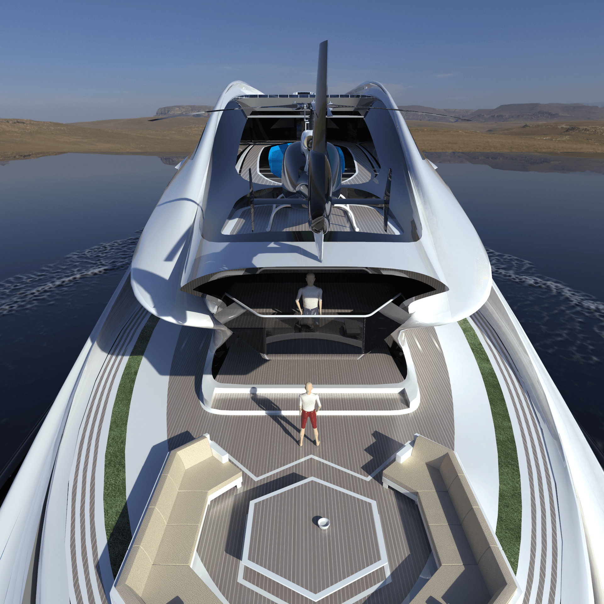 Superyacht Concept Avanguardia The Swan by Lazzarini Studio Design Main Living Deck