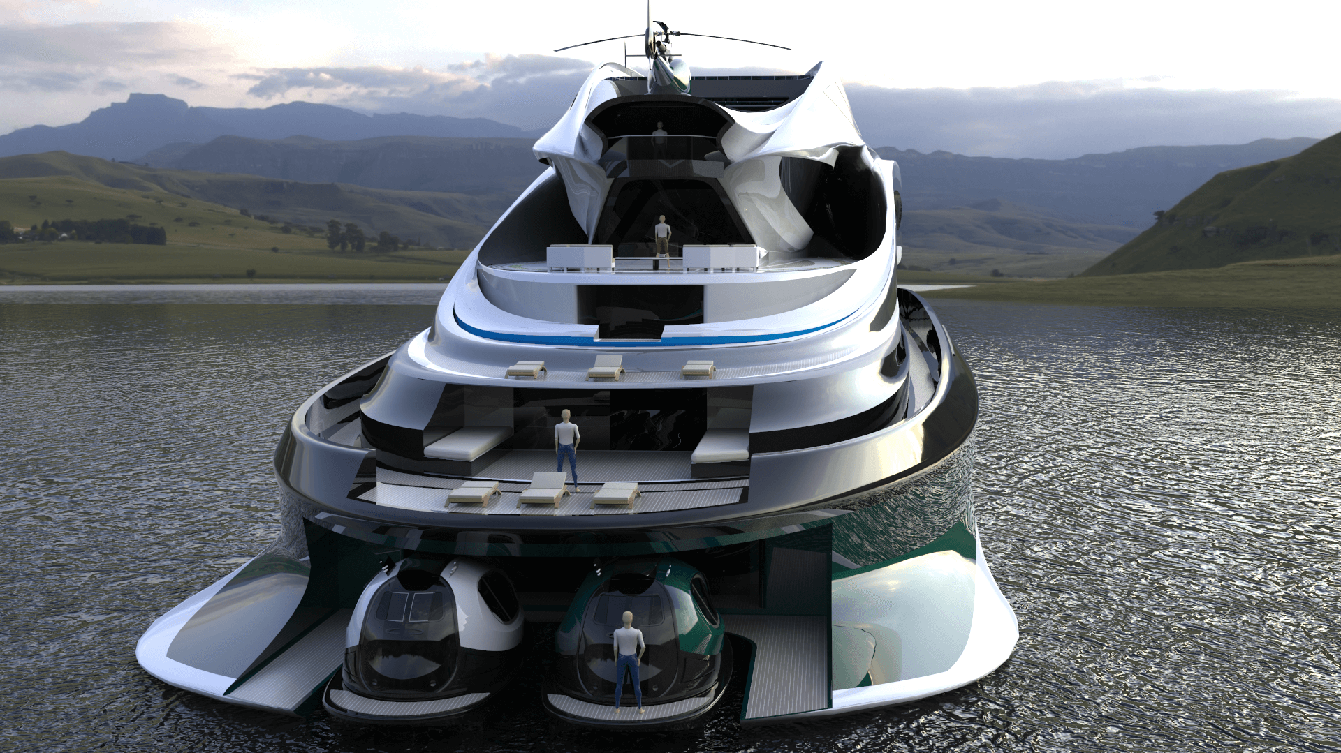 Superyacht Concept Avanguardia The Swan by Lazzarini Studio Design Rear Deck Port