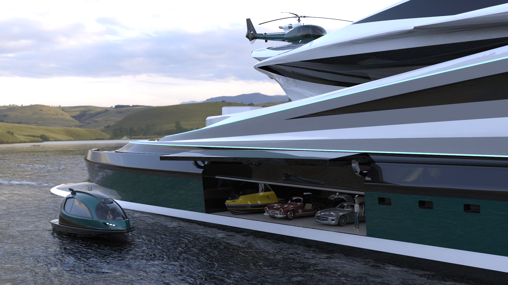 Superyacht Concept Avanguardia The Swan by Lazzarini Studio Design Side Garage