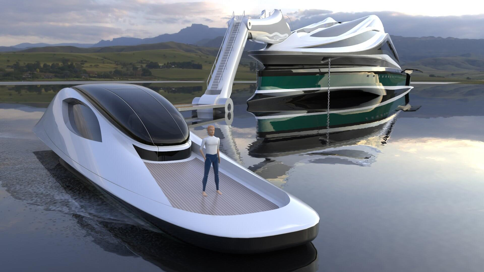 Superyacht Concept Avanguardia The Swan by Lazzarini Studio Design Tender Detached