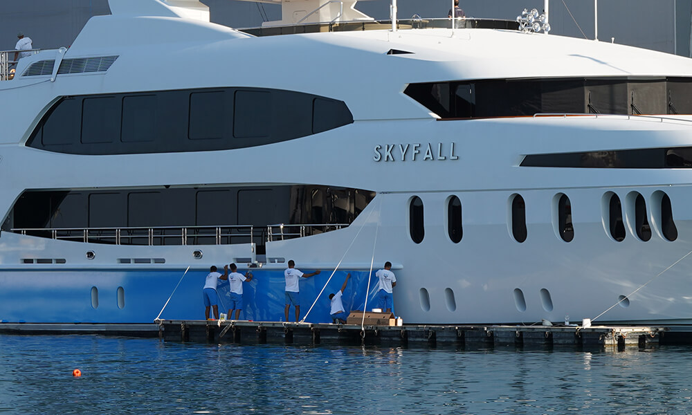 Superyacht SKYFALL wrap begining in water