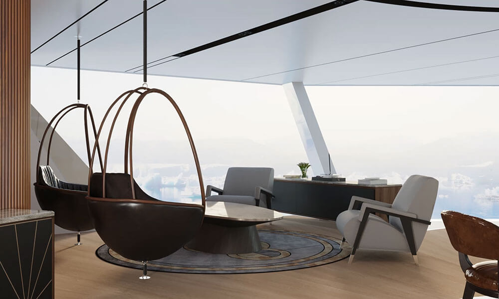 Explorer yacht Stormbreaker pod chairs by Theodoros