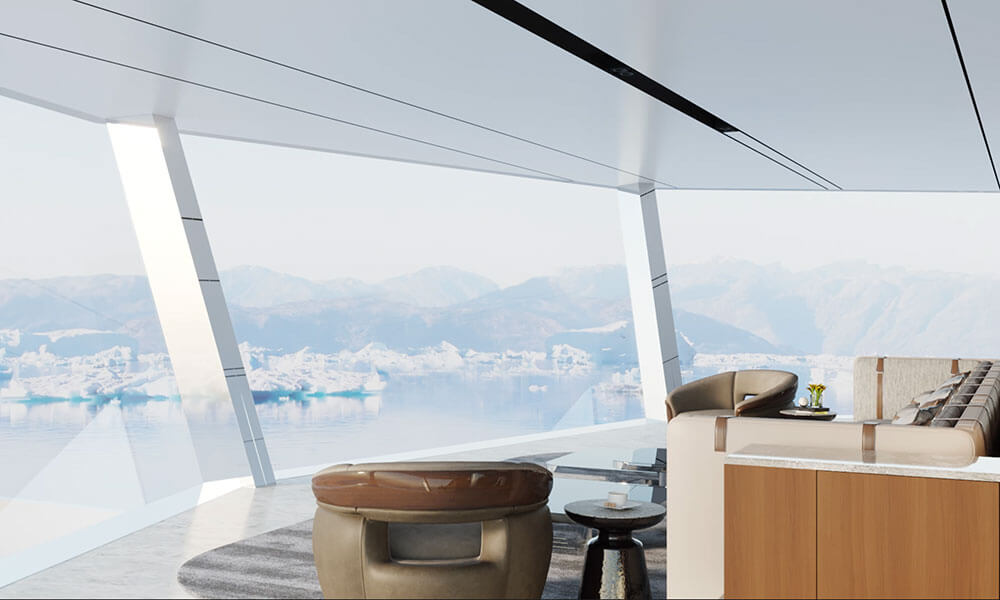 Explorer yacht Stormbreaker observation lounge by Theodoros Fotiadis