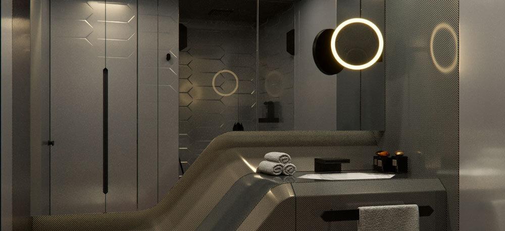 Bathroom in the Tecnomar by Lamborghini 63 sports yacht