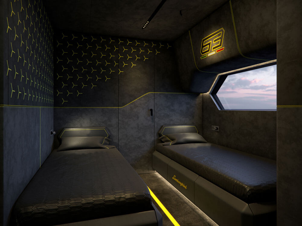 Second bedroom in the Tecnomar by Lamborghini 63 sports yacht
