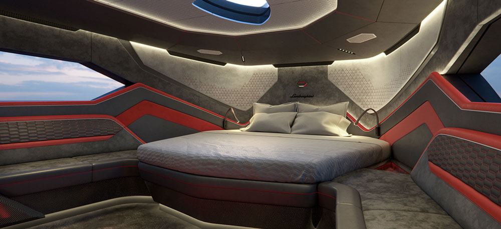 Tecnomar by Lamborghini 63 sports yacht master bed in bedroom