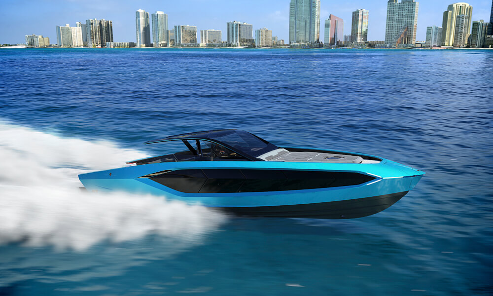 The fastest Tecnomar performance yacht to date. Credit: Lamborghini & Tecnomar
