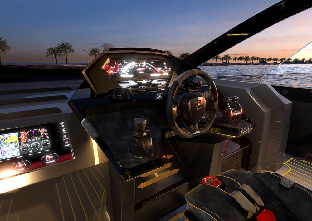Sports styled steering wheel and control panel. Credit: Tecnomar & Lamborghini