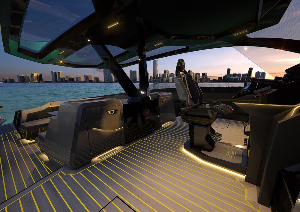 Tecnomar for Lamborghini 63 Sports Yacht Side Interior