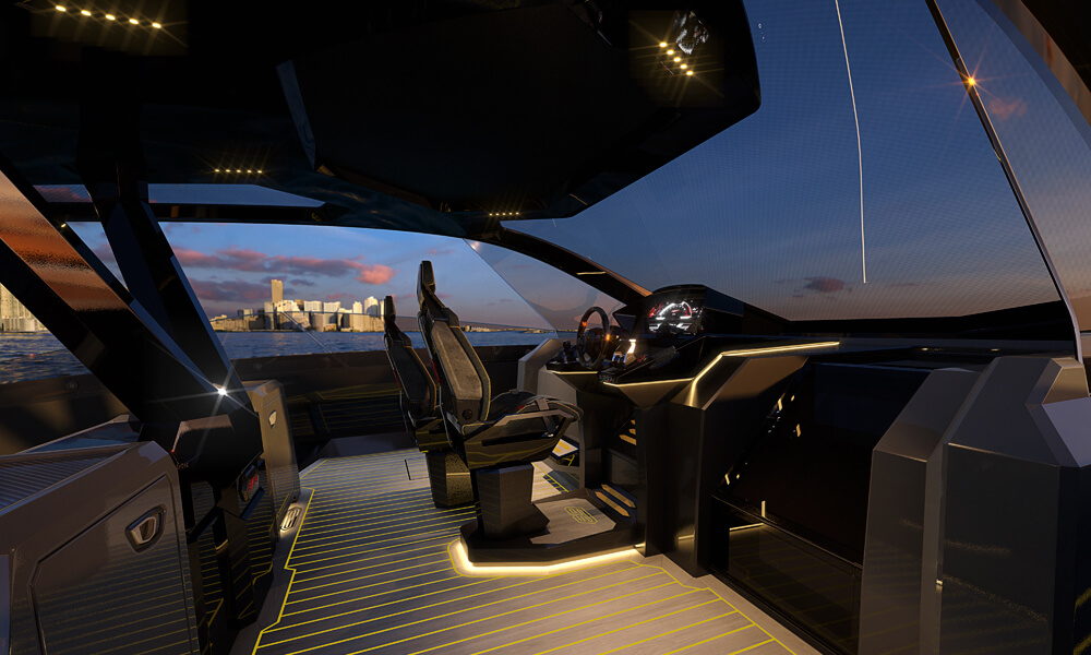 Tecnomar for Lamborghini 63 Sports Yacht Interior