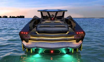 Tecnomar for Lamborghini 63 Sports Yacht Rear View