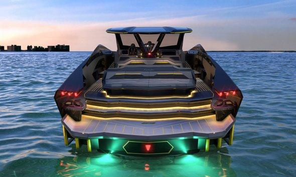 Tecnomar for Lamborghini 63 Sports Yacht Rear View