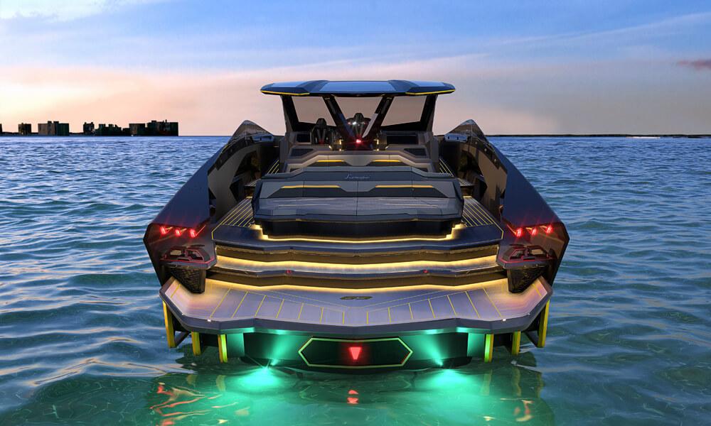Design styling reminiscent of the exterior styling of modern Lamborghini's. Credit: Tecnomar & Lamborghini