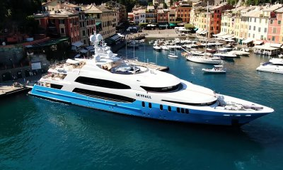 aerial view of Superyacht SKYFALL wrap complete